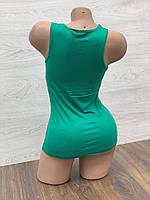 Майка женская стрейчевая в упаковке 3 шт зеленого цвета, фото 2