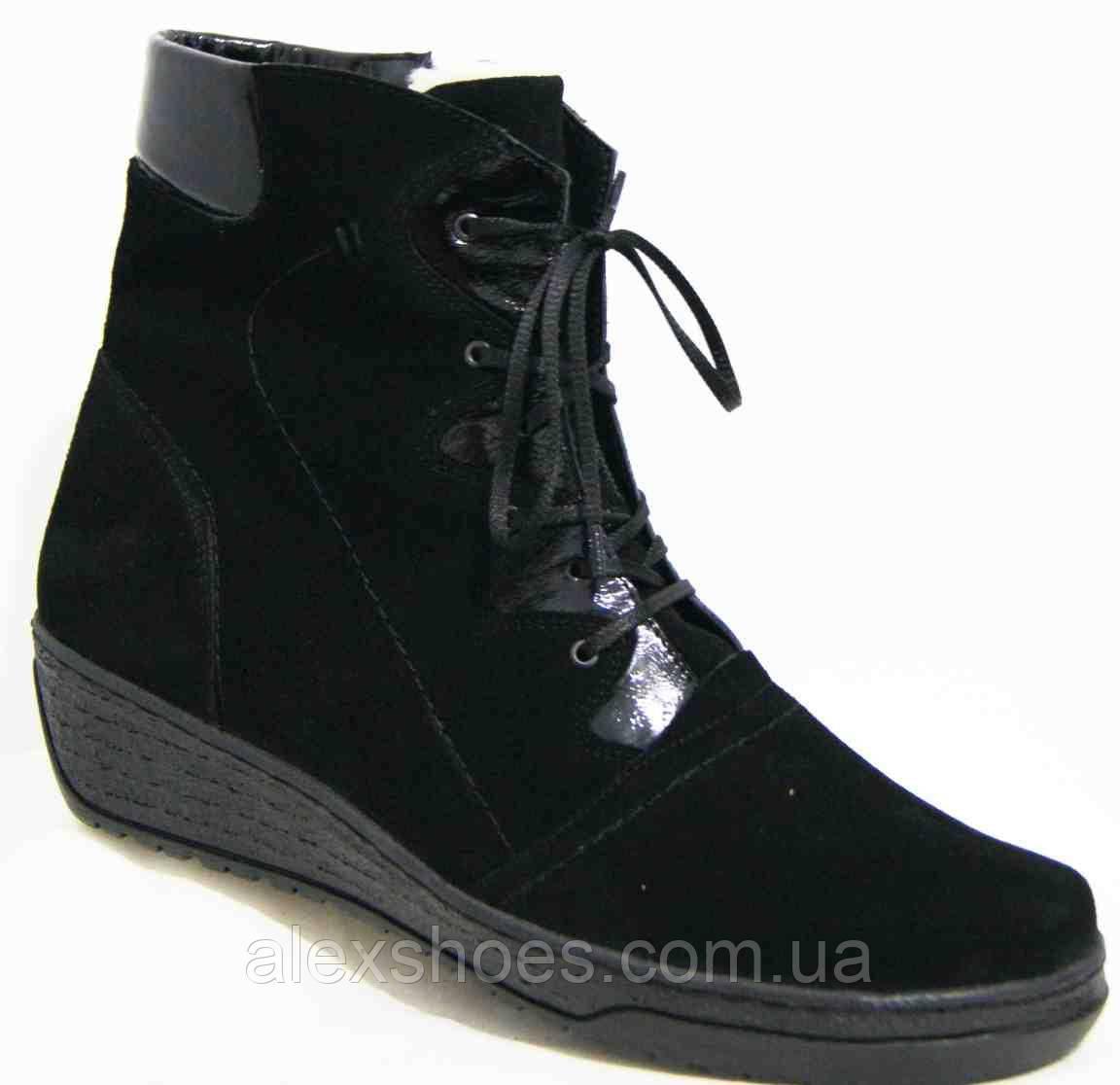 Ботинки женские зимние из натуральной замши большого размера от производителя модель В5168