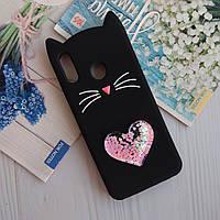 3D Чехол Huawei P Smart Plus Котик с ушками и сердечком Черный