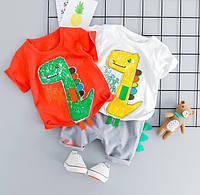 Яркие летние костюмыр. 80 - 100 Динозаврики НАШИВКА КРУТЕЦКИЙ мальчик детский