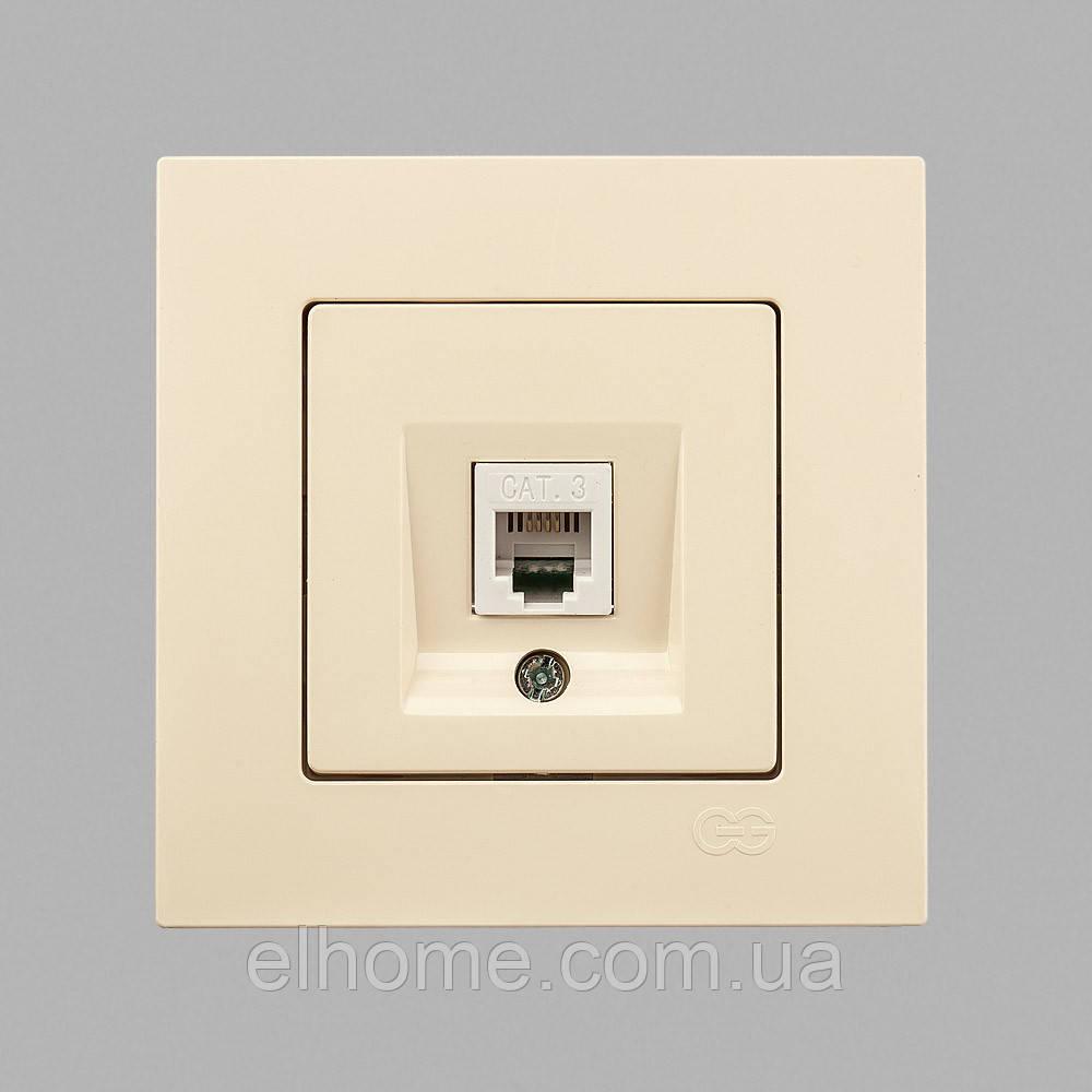 Розетка, комп'ютерна. cat 5E 1-на Gunsan Eqona крем