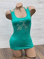Майка женская стрейчевая в упаковке 3 шт зеленого цвета, фото 1