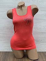 Майка женская стрейчевая в упаковке 3 шт красного цвета, фото 1