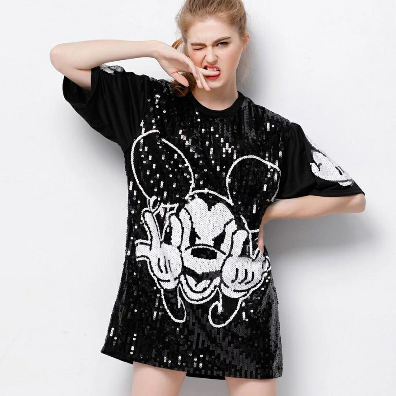 Женское платье туника Mikki Cool с пайетками черная