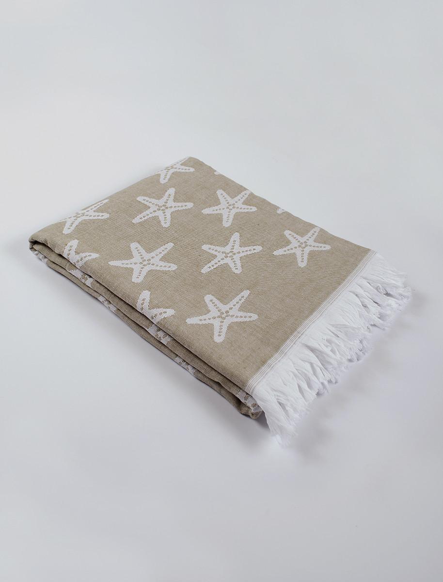 Полотенце-пештемаль пляжное Starfish 100х180см бежевый Barine