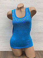 Майка женская стрейчевая в упаковке 3 шт синего цвета, фото 1