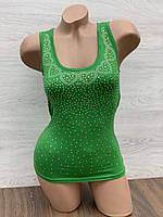 Майка женская стрейчевая в упаковке 3 шт зеленого цвета