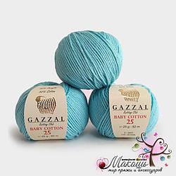 Пряжа Baby cotton 25 Gazzal (Бэби коттон 25 Газал), бирюза