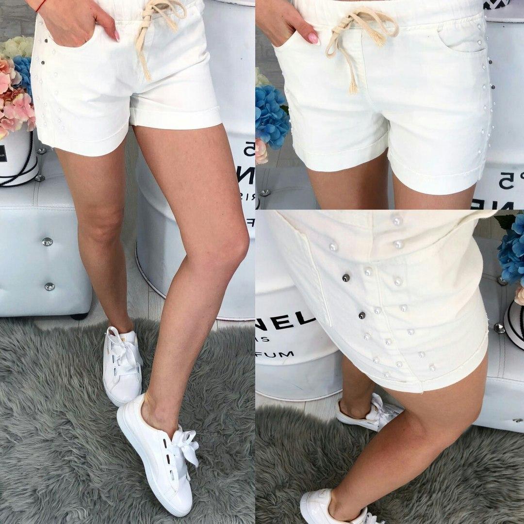 38a7a76b4216 Белые женские шорты с бусинами - Bigl.ua