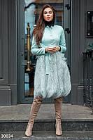 Пальто с мехом ламы Gepur Premium coats 30034