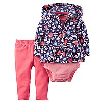 Комплект флисовый для девочки Carters Цветочки