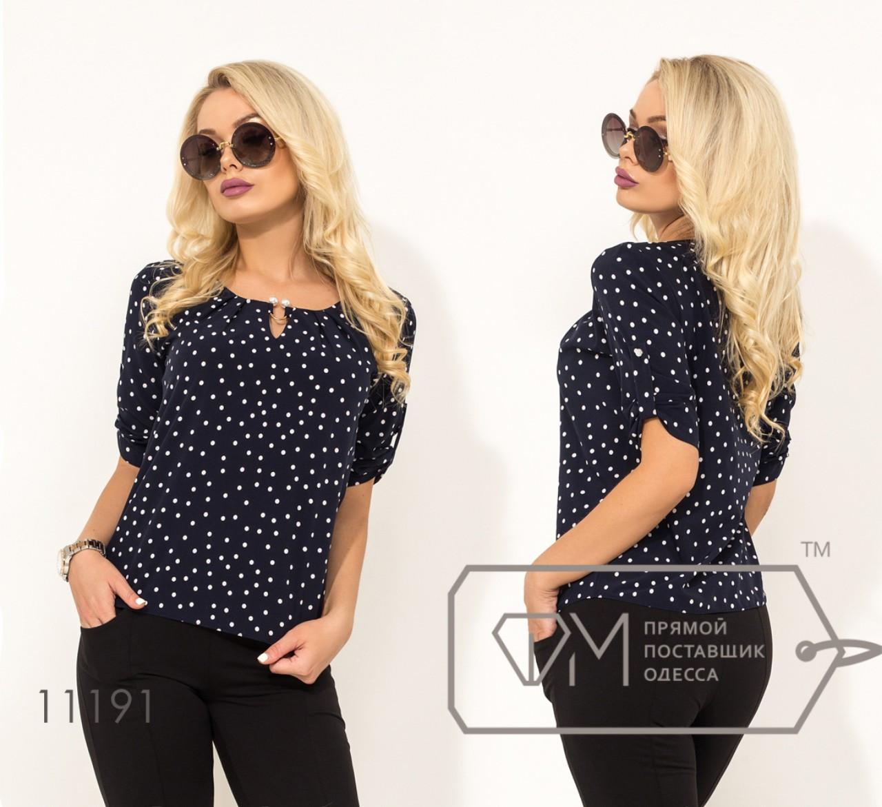 Летняя блузка в мелкий горошек 42-50 (в расцветках)