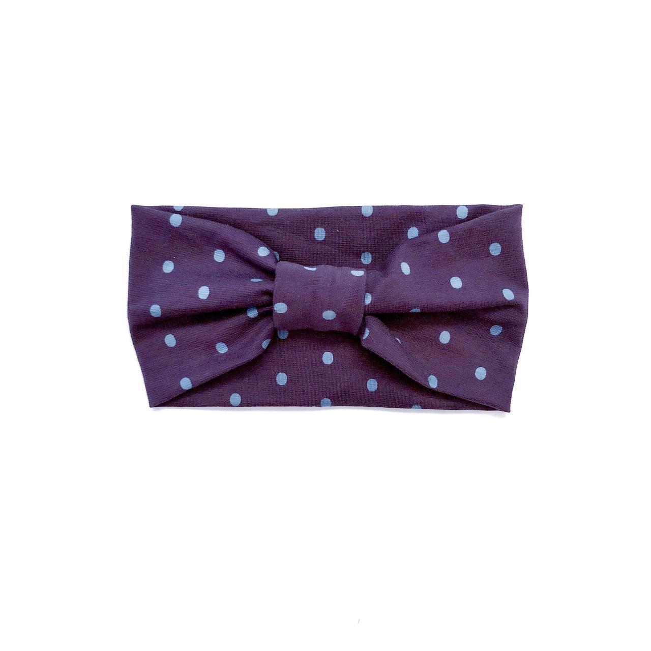 Повязка широкая Andriana Kids фиолетовая в горошки