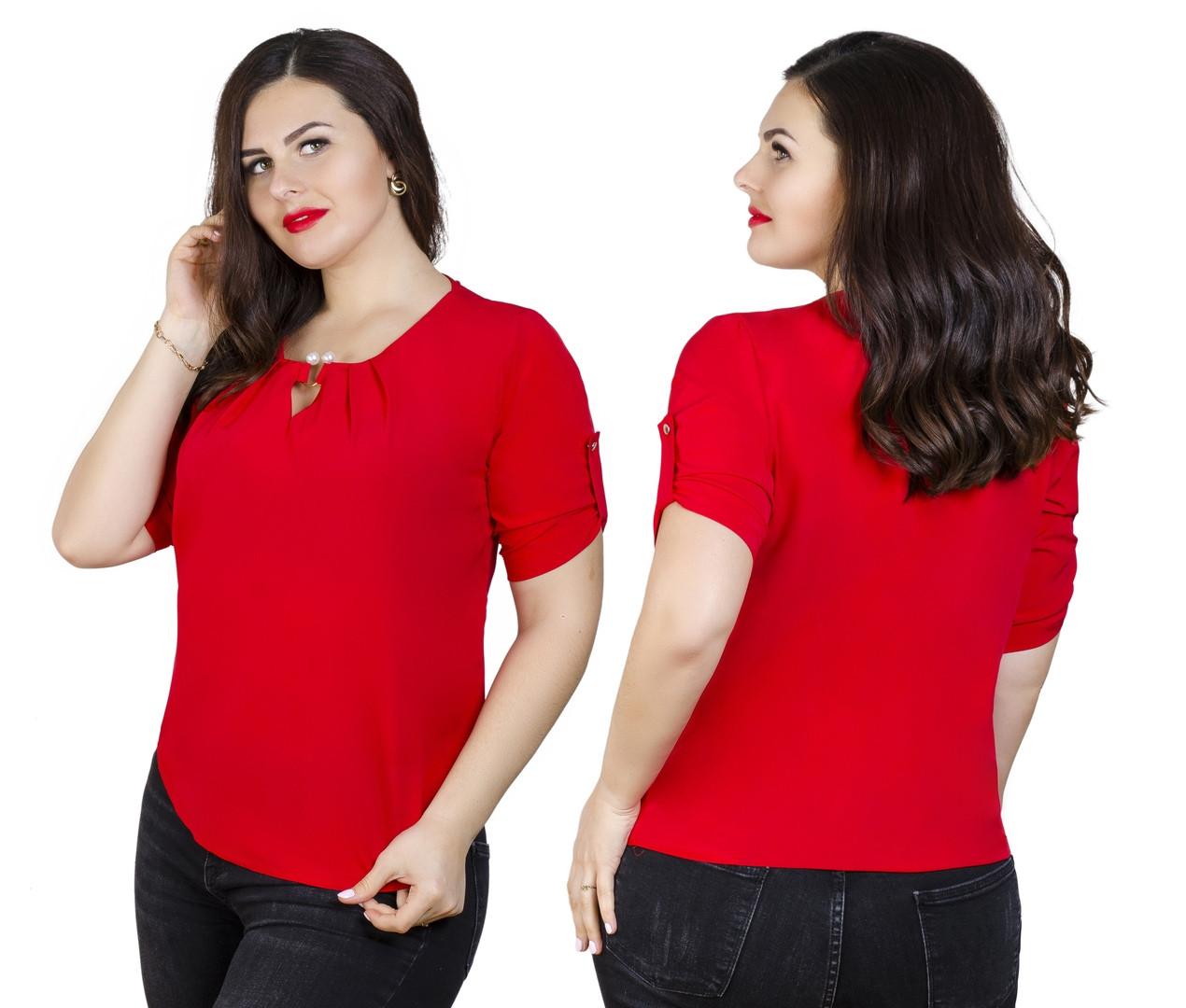Однотонная блузка большого размера 50-56 (в расцветках)