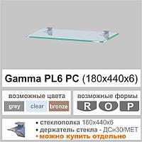 Стеклянная полка Commus PL6 P (180х440х6мм) (прямоугольная прозрачная, голубая, графит, бронза), фото 1
