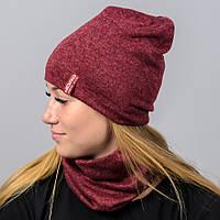 Комплект шапка и бафф Nord Ангора Бордовый (kt180061)