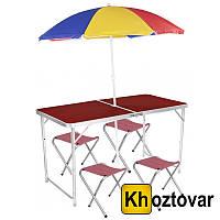 Складной туристический стол c зонтом Folding Table Convenient to Take | 4 стула