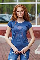 Женская стильная летняя футболка №98 (р.42-48) джинс, фото 1