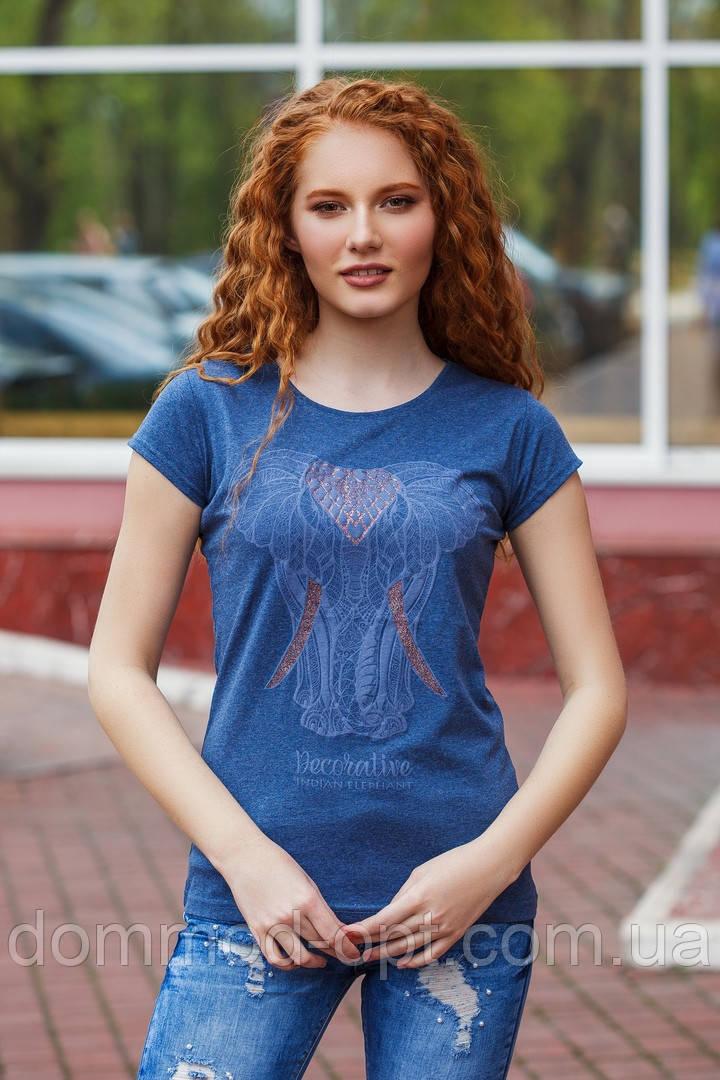 Женская стильная летняя футболка №98 (р.42-48) джинс
