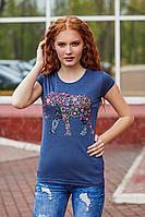 Женская стильная летняя футболка №99 (р.42-48) синий, фото 1