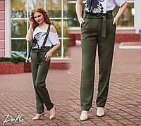 Женские брюки на лямках №41277 (р.42-48) хаки, фото 1
