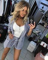 Костюм женский из льна с шортами в полоску (К27709), фото 1
