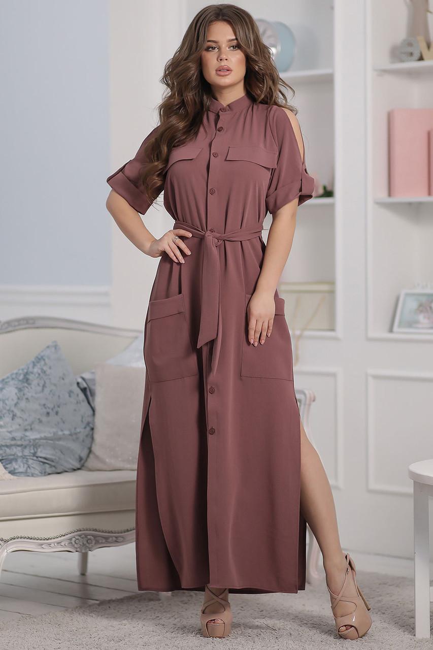 Каролина Платье длинное марсала