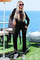 Велюровый черный костюм спортивный Gepur Azure 12921
