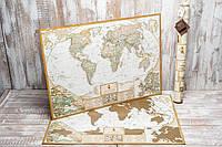 Античная скретч карта мира на английском языке