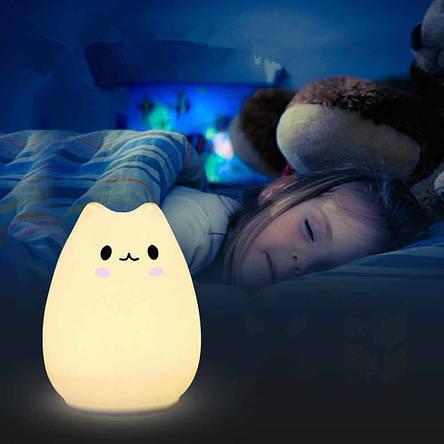 Ночной светильник силиконовый Котик Sleep Lamp 7 режимов, фото 2