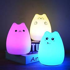 Ночной светильник силиконовый Котик Sleep Lamp 7 режимов, фото 3