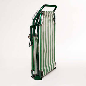 "Раскладушка ""Диагональ"" d22 мм (текстилен зелено-белая полоса), фото 3"