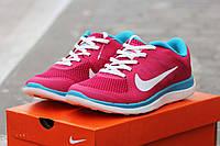Женские кроссовки Nike Free Run 4 0 розовые с голубым 1668