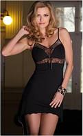 Сорочка женская эротическая черная на тонких бретелях, пеньюар Eldar IRIS, ночная рубашка