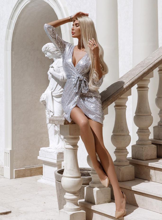 """Вечернее женское короткое платье 0215 """"Пайетка Мини Запах"""" в расцветках"""