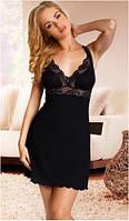 Сорочка женская эротическая черная на тонких бретелях, пеньюар Eldar ISABELA, ночная рубашка