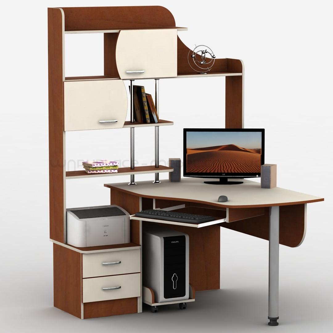 Компьютерный угловой стол Тиса-6 с надстройкой