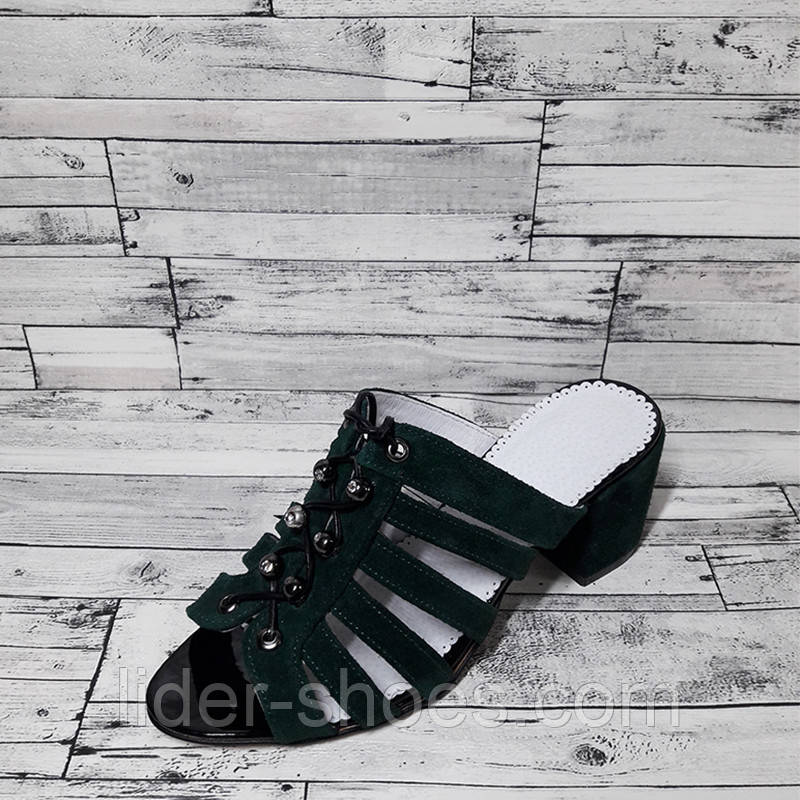 Сабо женские на каблуке темно зеленого цвета
