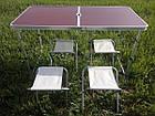 Стол для пикника усиленный с 4 стульями Коричневый, фото 6