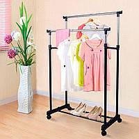 Телескопическая напольная вешалка-стойка для одежды Double Pole Clother Hose (двойная)