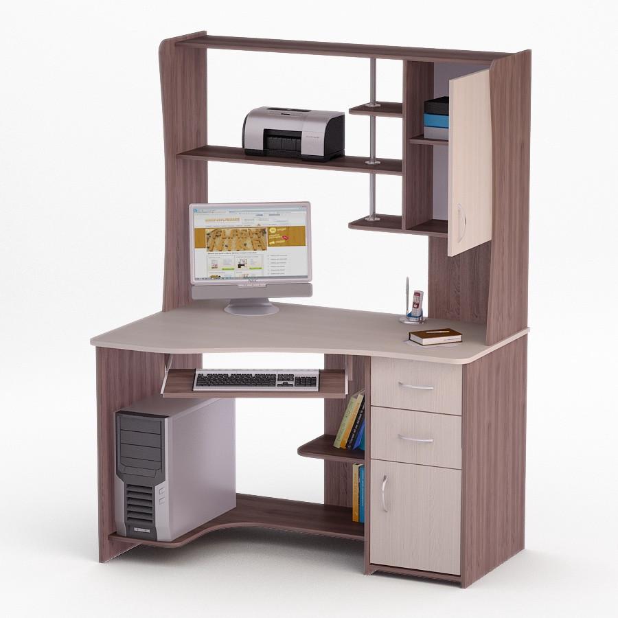 Компьютерный угловой стол Флеш-Ника ЛеД - 31 (стандарт) с надстройкой