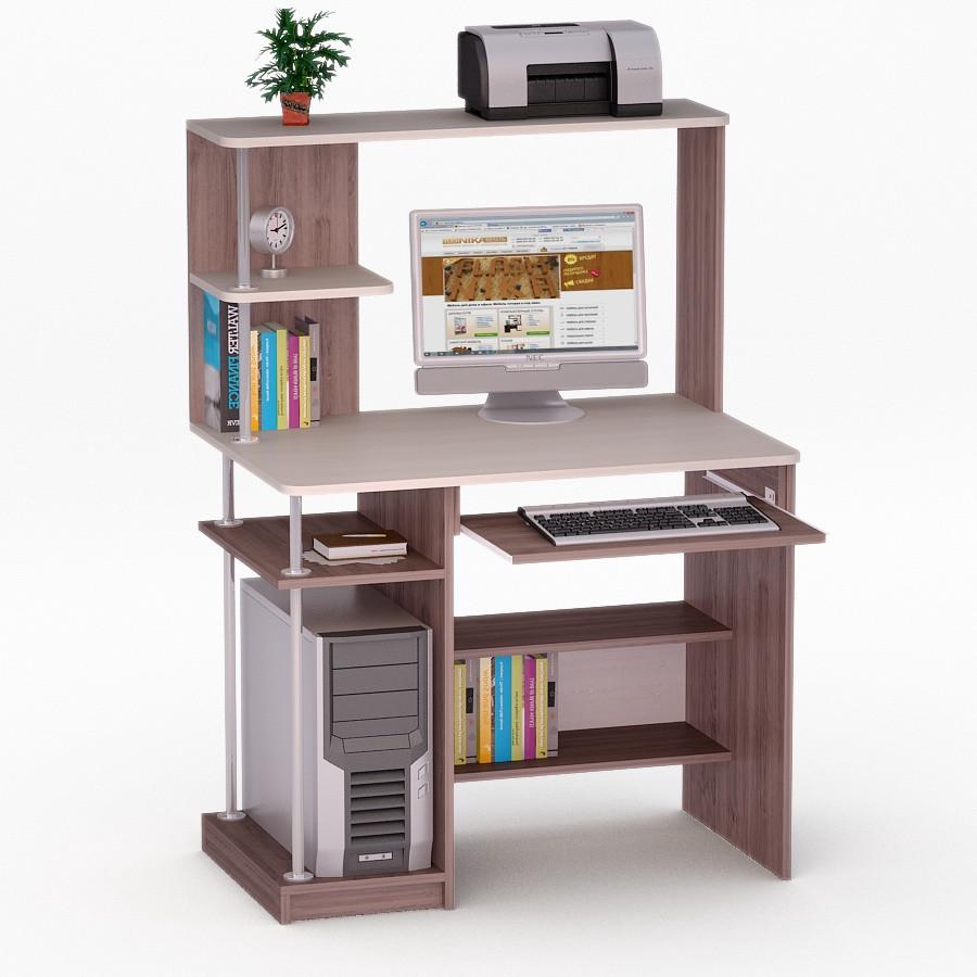 Компьютерный прямой стол Флеш-Ника ЛеД - 58 (стандарт) с надстройкой