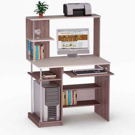 Компьютерный прямой стол Флеш-Ника ЛеД - 58 (стандарт) с надстройкой, фото 2