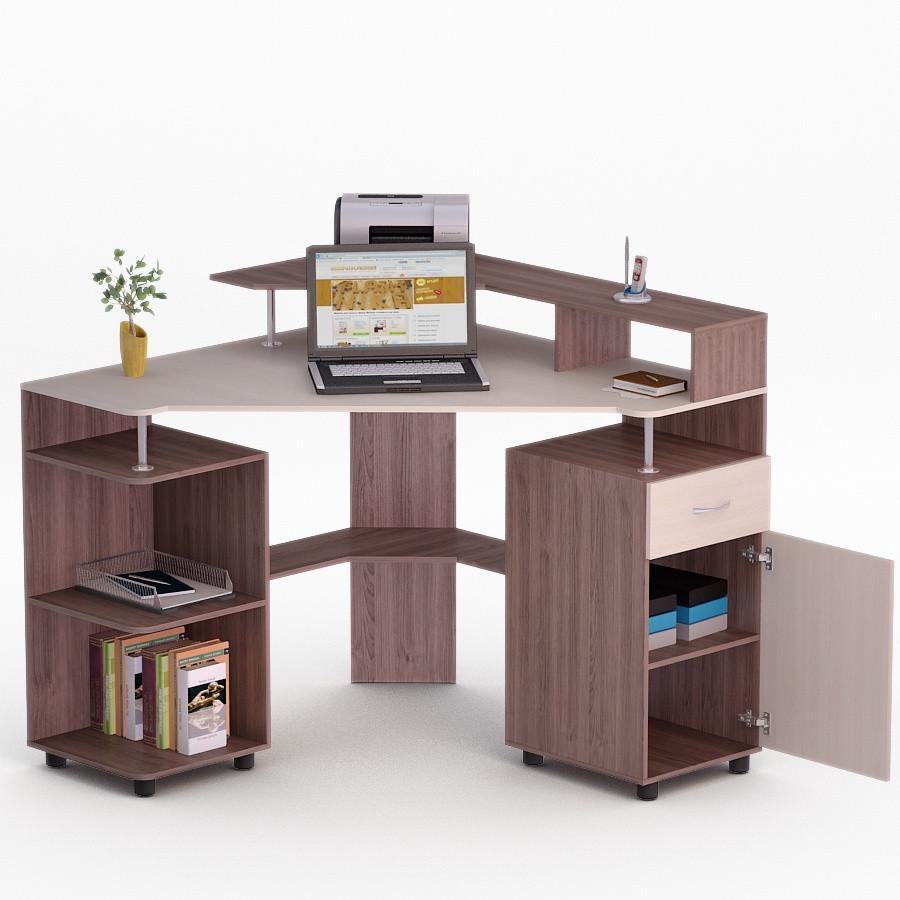 Компьютерный угловой стол Флеш-Ника ЛеД - 10 Дуб Лимберг Коимбра