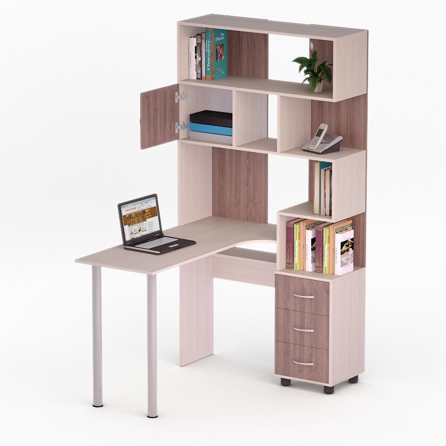 Компьютерный угловой стол Флеш-Ника ЛеД - 12 Дуб Лимберг Коимбра с надстройкой