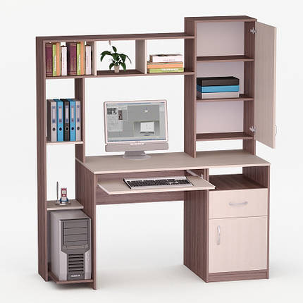 Компьютерный прямой стол Флеш-Ника ЛеД - 14 Дуб Лимберг Коимбра с надстройкой, фото 2