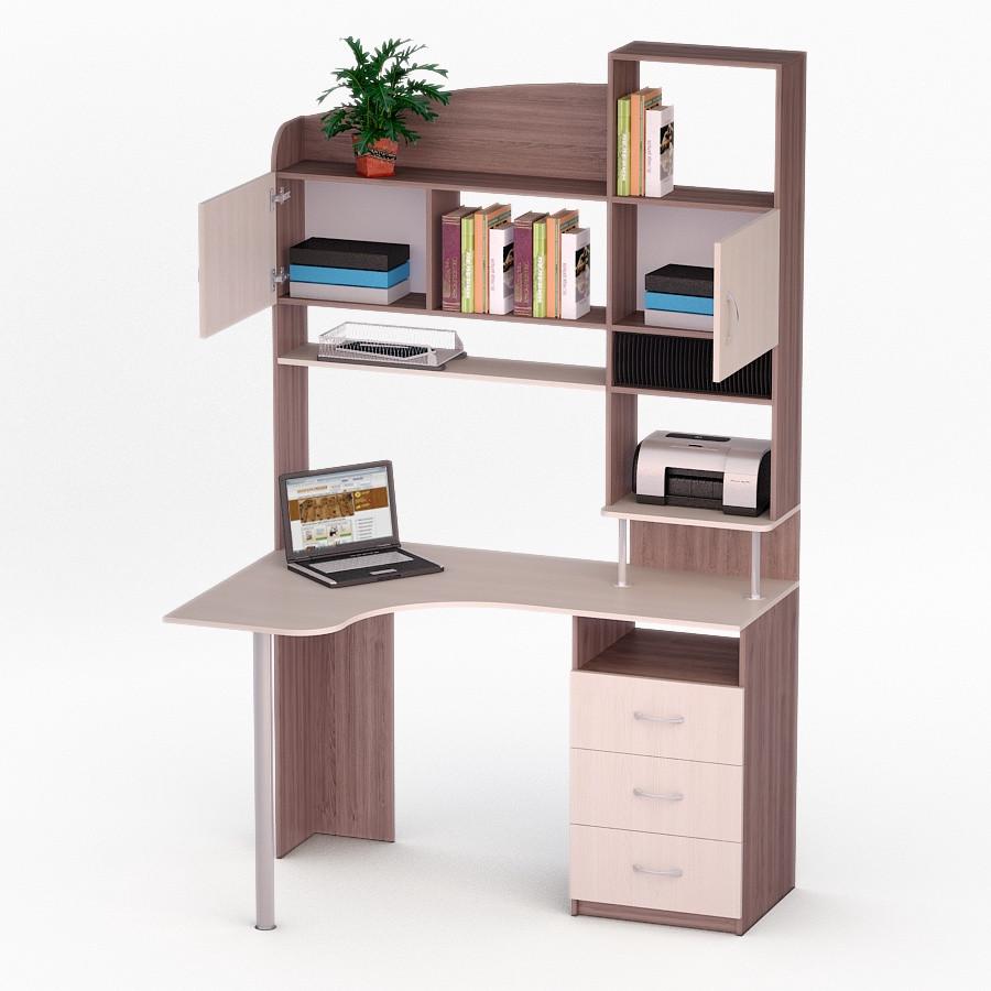Компьютерный угловой стол Флеш-Ника ЛеД - 16 Дуб Лимберг Коимбра