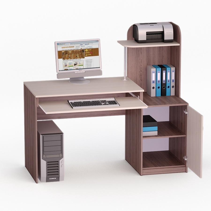 Компьютерный прямой стол Флеш-Ника ЛеД - 17 Дуб Лимберг Коимбра с надстройкой