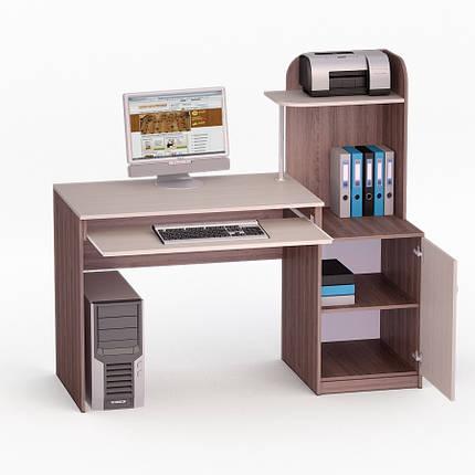 Компьютерный прямой стол Флеш-Ника ЛеД - 17 Дуб Лимберг Коимбра с надстройкой, фото 2