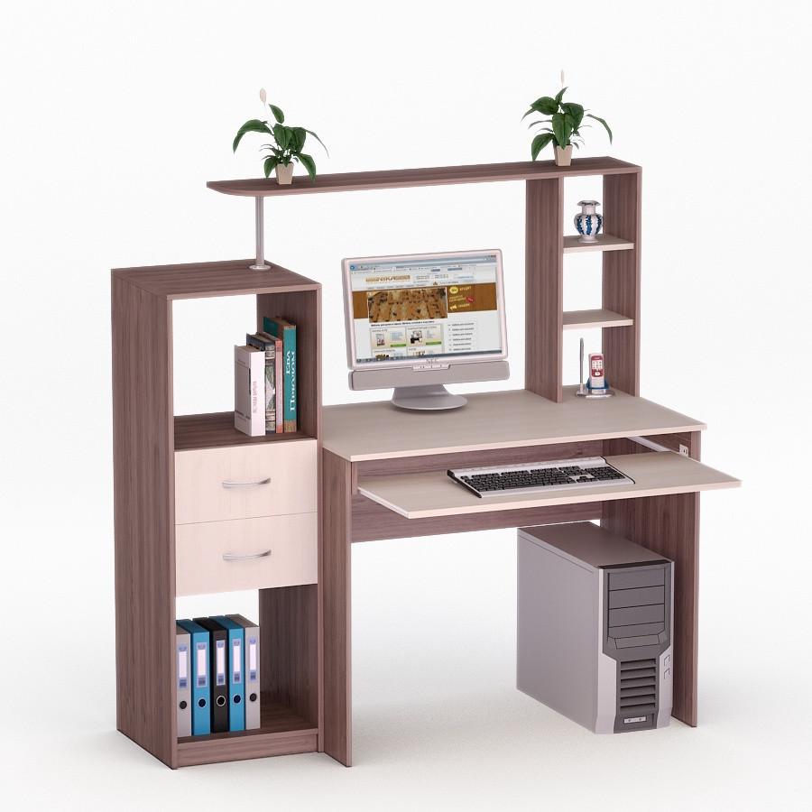 Компьютерный прямой стол Флеш-Ника ЛеД - 18 Дуб Лимберг Коимбра с надстройкой